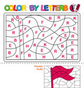 Color by letters. Learning the capital letters of the alphabet. Puzzle for children. Letter F. Flag. Preschool Education.