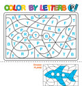 Color by letters. Learning the capital letters of the alphabet. Puzzle for children. Letter P. Plane. Preschool Education.