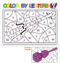Color by letters. Learning the capital letters of the alphabet. Puzzle for children. Letter V. Violin. Preschool Education.