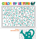 Color by letters. Learning the capital letters of the alphabet. Puzzle for children. Letter W. Watering Can. Preschool Education. Royalty Free Stock Photo