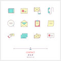 Color line icon set of contact form, information, objects and to