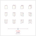 Color line icon set of Folded objects. Scoring scheme booklets, Royalty Free Stock Photo
