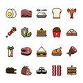 Color line icon set of Food. Pixel perfect icons.