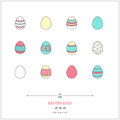 Color line icon set of holiday easter eggs objects. Logo icons v Royalty Free Stock Photo