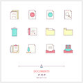 Color line icon set of office document objects. Work with docume Royalty Free Stock Photo