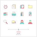 Color line icon set of office equipment, objects and tools eleme Royalty Free Stock Photo