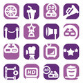 Color movie icons set created mobile web applications Stock Photography