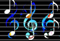 Color music notes with clef and black background. Music concept.
