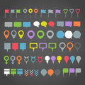 Color navigation pins collection dark background Stock Photos