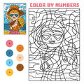 Color by number for children, Girl in sunglasses