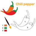 Color by number: chili pepper