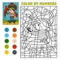 Color by number, education game, Pirate and parrot