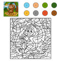 Color by number game for children monkey with a banana animal Stock Image