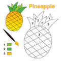 Color by number: pineapple Royalty Free Stock Image