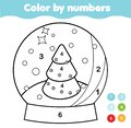 Color by numbers for kids. Educational game for children. Christmas snow globe. Drawing kids printable activity. New Year holidays