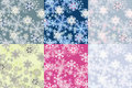 Color options seamless patterns from snowflakes Stock Photos