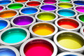 Color paint cans abstract creativity concept group of tin metal with dye Stock Image