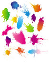 Color paint splashes Stock Photo