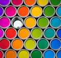 Color paint tin cans top view Royalty Free Stock Images