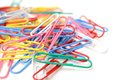Color paper clips on white Royalty Free Stock Photos