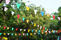 Color paper hanging leaves on tree at park Stock Photography