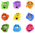 Color patches with emotional faces Royalty Free Stock Photo