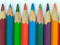 Color pencil close up of pencils with different over white background Royalty Free Stock Photos