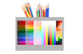 Color pencil and color card Stock Photos