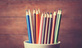 Color pencil in the cup Royalty Free Stock Photo