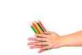 Color pencil on hand Royalty Free Stock Photo