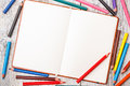 Color pencil and notepad Royalty Free Stock Photo