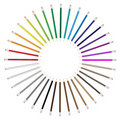 Color pencil radial fan arrangement Royalty Free Stock Photography