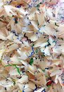 Color pencil shavings different coloured Stock Photo