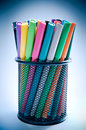 Color pencils blue background Stock Photography