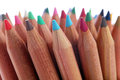 Color pencils close up of with different over white background Stock Images