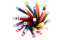 Color pencils colorful in top view Stock Images