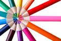 Color pencils forming a circle in spokes of wheel Stock Photography