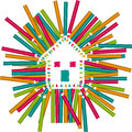 Color Pencils House Royalty Free Stock Photo