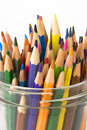 Color  pencils in a jar on a white background Royalty Free Stock Photography