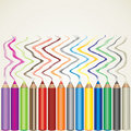 Color pencils and lines Royalty Free Stock Photo