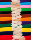 Color pencils packed in a row Stock Photography