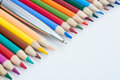 Color pencils and pen Stock Photos