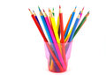 Color pencils in the pink prop over white Stock Image