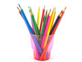 Color pencils in the pink prop over white Stock Images