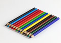 Color pencils a set of on white background Stock Photography