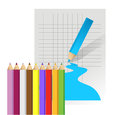 Color pencils set on white background illustration design over a Royalty Free Stock Photo