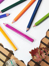 Color pencils with sharpener Royalty Free Stock Photo