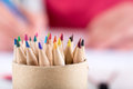 Color pencils tips close up Royalty Free Stock Photos