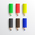 Color pencils on white background Royalty Free Stock Photo
