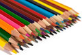 Color pencils on white background assortment of colored colored drawing colored drawing in a variety of colors Royalty Free Stock Image